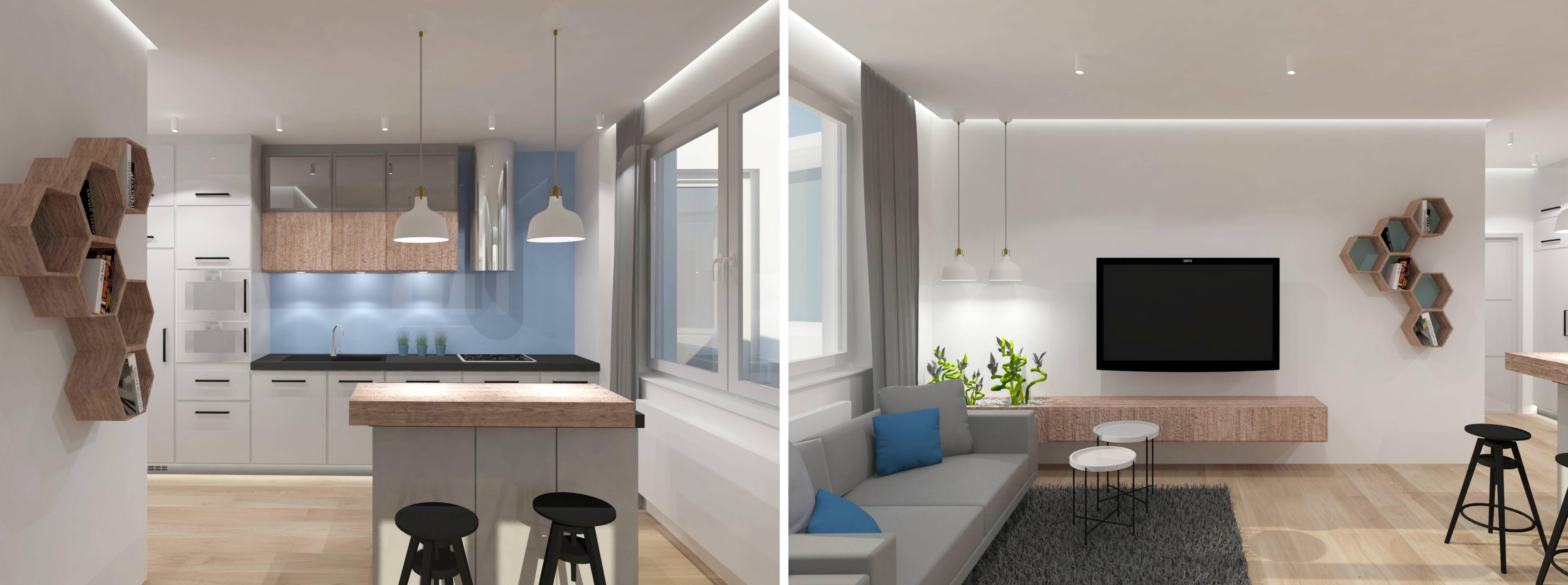 Projektowanie wnętrz - projekt kuchni i pokoju dziennego