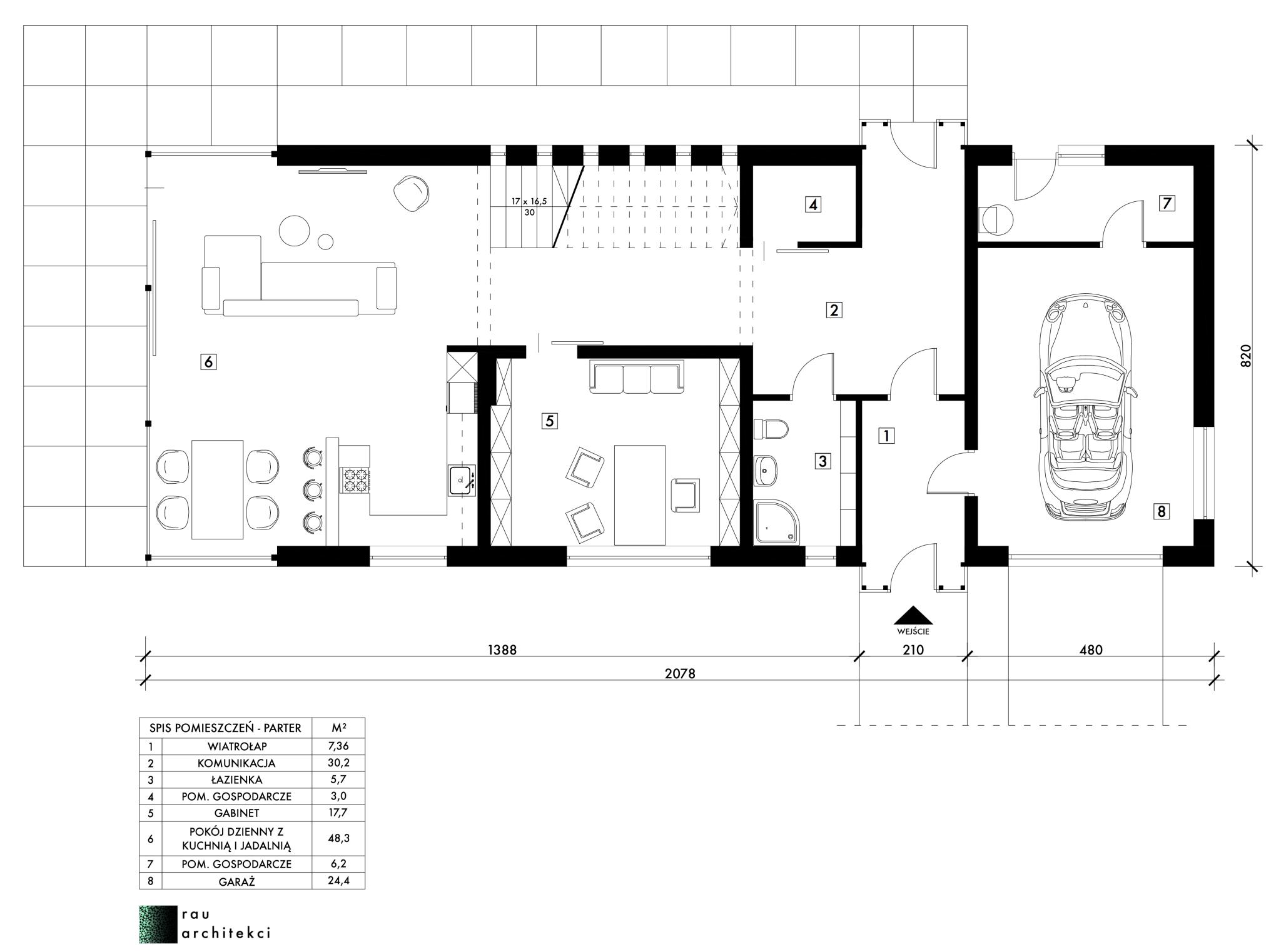 dom nowoczesny jednorodzinny parter